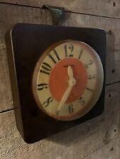Vintage Retro 1960's / 70's Hanson Brown & Orange Wall Clock