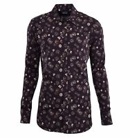 DOLCE & GABBANA GOLD Dices & Card Suits Printed Cotton Shirt Brown 04820