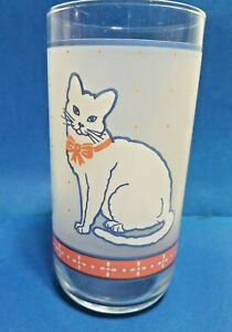 """Country Kitty Cat Drinking Glass Tumbler Frosted White 6"""" Tall"""