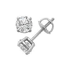 0.25 Cttw Diamante Orecchini 10kt Oro Bianco con Vite Retro D / VVS1