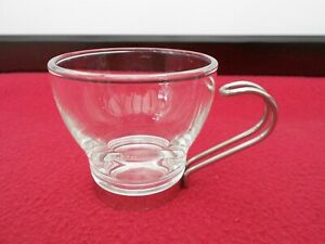VINTAGE RETRO VITROSAX GLASS ESPRESSO COFFEE CUP WITH STAINLESS STEEL HANDLE