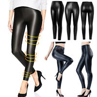 Women's Faux Leather Leggings Wet Look High Waist Stretchy Push Up Pencil Pants
