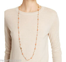 """Auth New Tory Burch Convertible Station Necklace Evie Pearl Rosary Coral 40"""" 16k"""