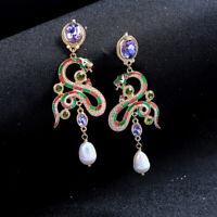 Earrings Golden Snake Mauve Enamel Green Pearl Culture Renaissance XX32