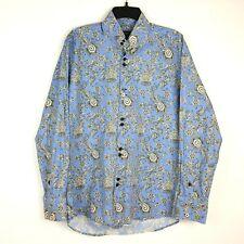 Bogosse Long Sleeve Button Shirt Sz 3 Paisley Floral Blue White