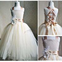 Flower Girls Party Dress Formal Wedding Princess Prom Bridesmaid Communion Tutu