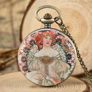 Vintage Elegant Lady Display Bronze Quartz Pocket Watch with Necklace Chain Gift
