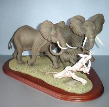 "LENOX Savanna Run African Elephants with Baby Sculpture Ltd Edt Large 19""L New!"