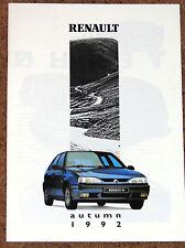 1992 RENAULT RANGE Brochure - A610, R19 16V & Cabrio, Clio 16V, R21 Turbo, R5