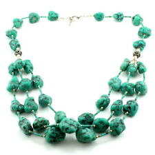 Necklace natural Tibetan turquoise gemstone beaded 925 solid sterling silver 131
