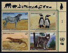 United Nations - Vienna 146a TR Block MNH Animals, Birds, Zebra, Penguin, Wolf