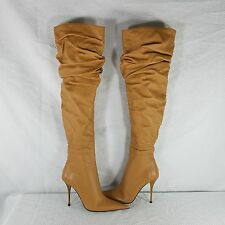 Gianmarco Lorenzi Italy Slouch Boots Leather Caramel Stiletto Heel EU 37 US 6.5