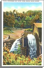 91182: 1940's USA Post Card - A Picturesque Old Water Wheel in Indian Summer