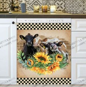 Kitchen Dishwasher Magnet Cover - Cute Cow Trio and Sunflowers