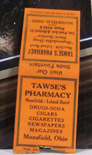 Vintage Matchbook Cover P1 Mansfield Ohio Tawse's Pharmacy Dugs Soda Cigars News