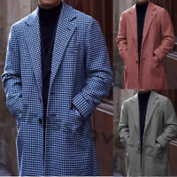 Houndstooth Overcoat Men Suits Wedding Groom Tuxedos Wool Outwear Long Jacket