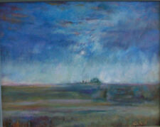 L Cahill Sunrise Under Blue Acrylic Painting Prairie Ranch Fog Clouds Fence Post