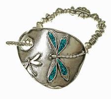 Blue Shimmer Dragonfly Stretch Silver Tone Toggle Bracelet
