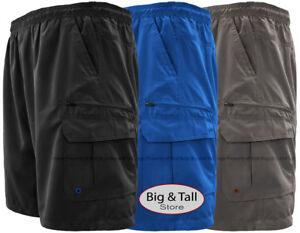 Big & Tall Men's Solid Cargo Swim Trunks by H2O Sport Tech 2XL – 8XL