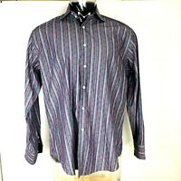Thomas Dean Shirt Cotton Flip Cuff Striped Long Sleeve Purple Large Button Up