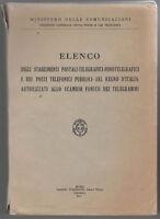 Ministero Delle Comunicazioni-Elenco Degli Stabilimenti Postali-Telegrafici 1942