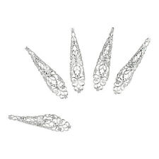 Lux Accessories Silver Tone Beautiful Floral Fingertip Nail Sharp Claw Jewelry