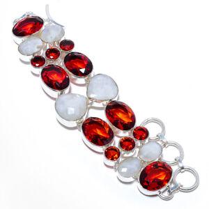 "Rainbow Moonstone & Rubellite Tourmaline 925 Sterling Silver Bracelet 7-8"" M1587"
