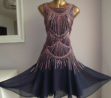 MONSOON GABRIELE NAVY ROSE GOLD SEQUIN EMBELLISHED 20's FLAPPER GATSBY DRESS 14