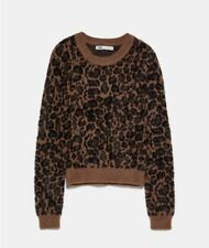 Zara BNWT Brown & Black Animal Print Soft Fluffy Faux Fur Jumper - Size L