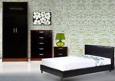 High Gloss Black WalnutWardrobe Chest Bedside + 3ft Single Black Bed + Mattress