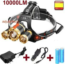 Linterna frontal recargable de cabeza  OUTDOOR 10000LM 3x XM-L XML T6 Headlamp