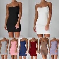 Algodón Spaghetti Mujeres Sexy vestido Correa mini vestidos Paquete de cadera