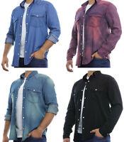 Mens Denim Shirt Casual Long Sleeve Big and Tall Sizes New Regular Fit