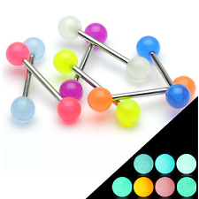 Surgical Steel Glow in the Dark Acrylic Ball Tongue Bar Body Piercing Jewellery