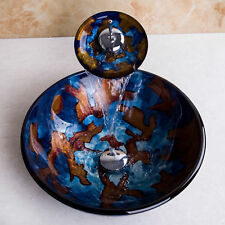 Colorful Tempered Glass Bathroom Round Basin Vessel Sinks Mixer Taps Drain Units