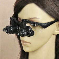 10 15 20 25 x LED Jeweler Watch Repair Magnifier Double Eye Glasses Loupe Lens