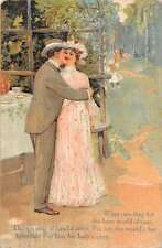 Romantic Couple embracing outdoor setting poetic verse antique pc Y13527