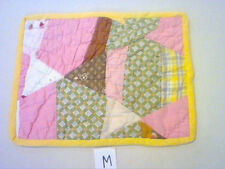 """VINTAGE SMALL SIZE CRAZY PATCHWORK DOLL QUILT OR TABLE RUNNER 11 1/2"""" x 9"""" (M)"""
