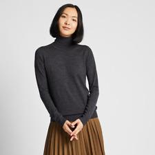 BNWT Uniqlo Pure Merino Wool Dark Grey Turtle-Neck Jumper Size M