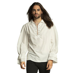 Mens Pirate Shirt White Medieval Lace Up Steampunk Costume Fancy Dress Top NEW