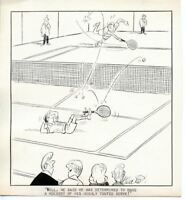 Jeff Keate Time Out Comic Strip Original Art  Tennis  (Highly Touted Serve)