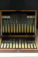 Antique Silver Plate Etched Fish Knives Forks Cutlery Boxed 12 Setting