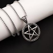 "Mens Pentagram pentacle pendant necklace supernatural stainless steel unisex 24"""