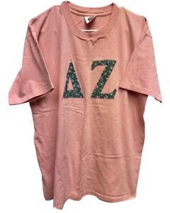 Vintage 90's Delta Zeta Sorority Oneita Power T Embroidered T-Shirt Size XL Pink