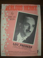 VINTAGE SHEET MUSIC - JEALOUS HEART - LOU PREAGER AND HIS ORCHESTRA