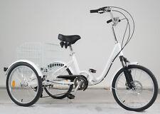 bici  bicicletta elettrica tre ruote  pieghevole ruote ammortizzate bianca