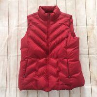 Eddie Bauer Red Premium Goose Down Puffer Vest Women's Size Large