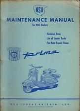 NSU PRIMA 125 & 150 SCOOTER ORIGINAL 1955 FACTORY MAINTENANCE MANUAL