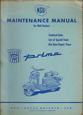 NSU PRIMA 125 & 150 SCOOTER ORIGINAL 1955 FACTORY MAINTENANCE MANUAL