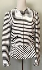 "ZARA Trafaluc Women's Knit Jacket Sz M ""L"" Striped Peplum Zip Outerwear"